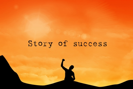 composite of silhouette of cheering person with story of success text