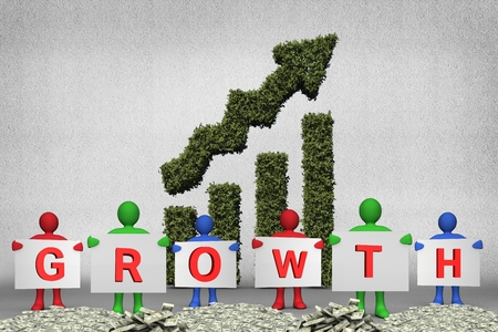 vegetative: composite of figures holding growth text on money piles with vegetative upward graph background Stock Photo
