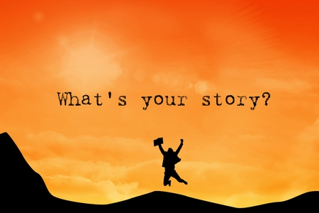 cross legged: composite of silhouette of cheering person with whats your story text Stock Photo