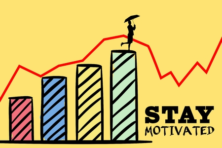 composite of stay motivated graphic with woman climbing graph