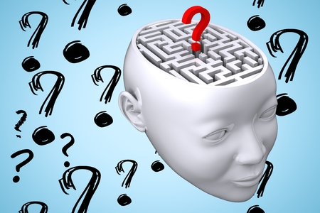 questionmarks: composite of maze inside head graphic with questionmarks Stock Photo