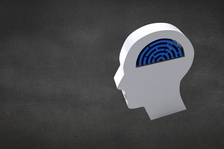 dull: composite of head graphic with maze brain on dark background
