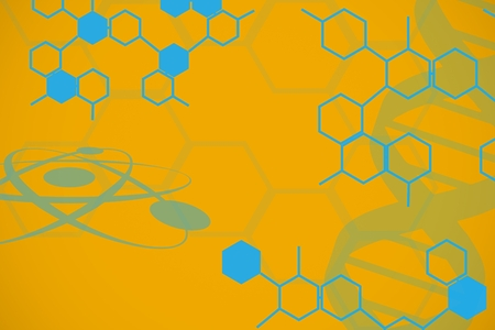 dna sequencing: Digital composite of Blue chemistry design on yellow