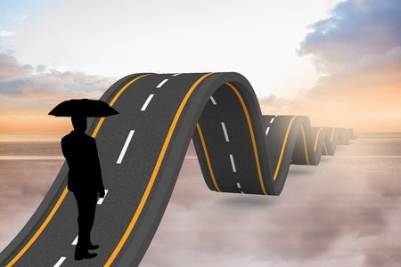 bumpy road: Digital composite of Businessman travelling on bumpy road
