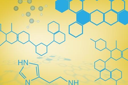 digital composite: Digital composite of Blue chemistry design on yellow
