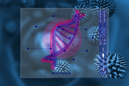 antiviral: Digital composite of DNA and virus graphic design