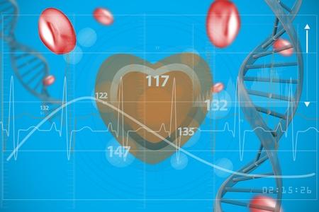 digital composite: Digital composite of Red heart with ecg line