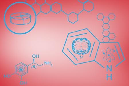 cromosoma: compuesto digital de diseño químico azul en rojo Foto de archivo
