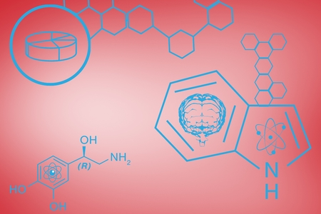 Digital composite of Blue chemistry design on red