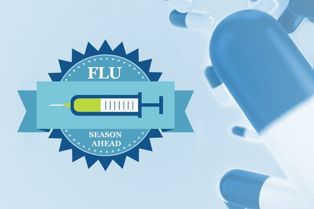 Composite image of fight the flu with pills with blue background Stock Photo