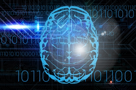 composite image: Composite image of brain with programming background Stock Photo