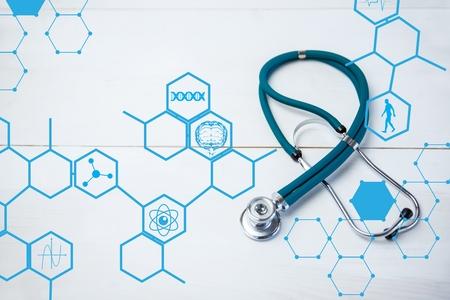 digital composite: Digital composite of Stethoscope on medical design