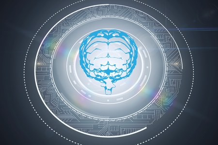 composite: Composite image of brain with graphics with grey background
