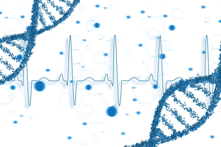 digital composite: Digital composite of Blue DNA graphic design Stock Photo