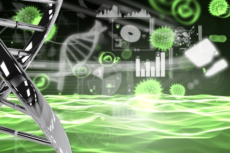 digital composite: Digital composite of DNA and virus graphic design