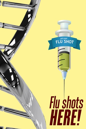 infectious disease: Digital composite of Flu shots here message