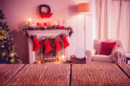 Car Toy On Wooden Surface Against Fireplace Decorate With Christmas ...