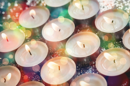 burning time: Close-up of candles burning during christmas time
