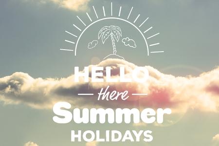 digital composite: Digital composite of hello summer holidays vector Stock Photo