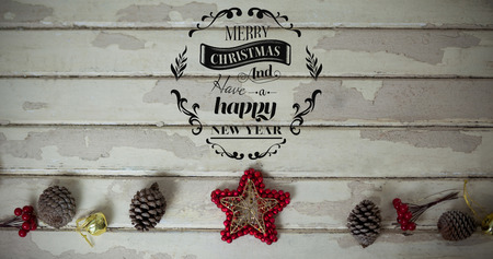 abode: Christmas greeting  against star shape decoration with pine cone