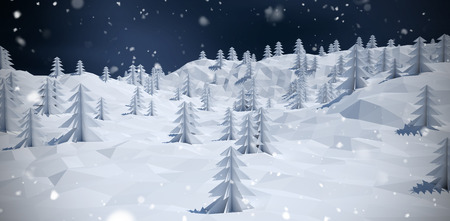 composite image: Composite image of trees on snow covered mountain against blue sky with clouds Stock Photo