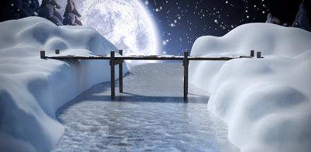 snowcapped mountain: Bridge over river against winter snow scene Stock Photo