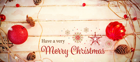 wooden plank: Christmas card against christmas decorations on wooden plank Stock Photo
