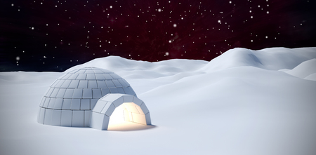 Igloo on snow field against outer space