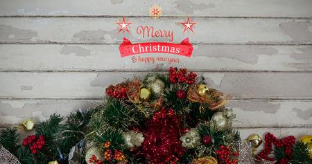 domicile: Christmas card against fir with christmas decoration Stock Photo