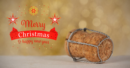 champagne cork: Christmas card against close-up of wooden champagne cork