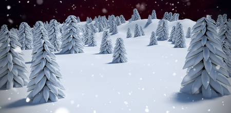 digitally generated image: Digitally generated image of trees on snowcapped mountain against outer space