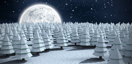 Snow covering Christmas trees on field against blue sky with clouds