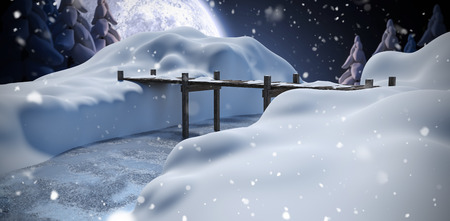 snowcapped: Wooden bridge over river on snowcapped mountain against winter snow scene