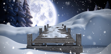 snow covered: Wooden bridge on snow covered mountain against winter snow scene Stock Photo