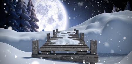 fir trees: Wooden bridge on snow covered mountain against winter snow scene Stock Photo