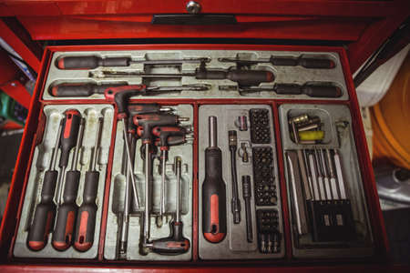 tool box: Tools arranged in tool box at workshop