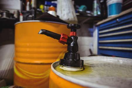 Close-up of valve oil barrels in workshop