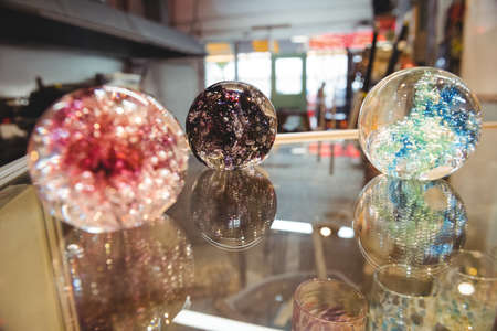 fragile industry: Handmade blown glassware on display at glassblowing factory