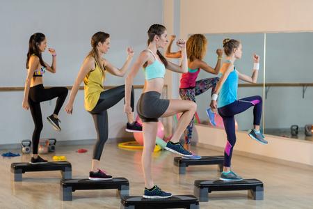 ejercicio aeróbico: Grupo de mujeres que ejercita en de pasos aeróbicos en el gimnasio