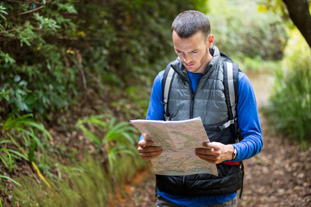 Male hiker looking at map in forest