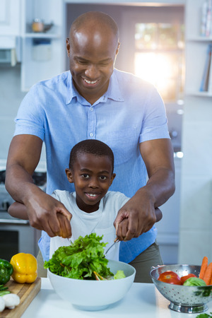 classy house: Father and son preparing food in kitchen Stock Photo