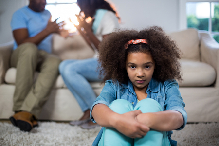 classy house: Portrait of upset girl at home