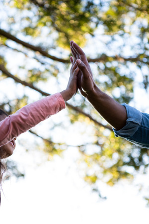 one parent: Close-up of father giving high five to his daughter in the garden