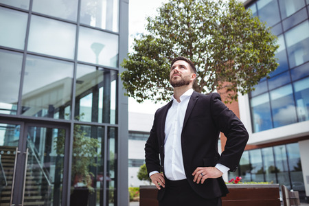 premises: Businessman standing with hands on hips in office premises