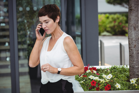 company premises: Businesswoman talking on mobile phone in office premises