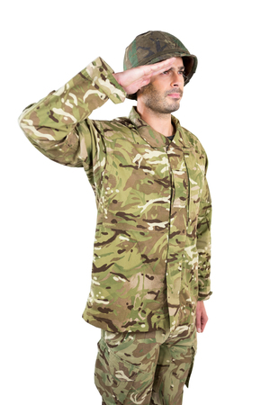 saluting: Close-up of soldier saluting on white background Stock Photo