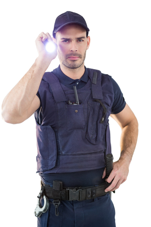 hand cuff: Portrait of security officer holding a torch against white background Stock Photo