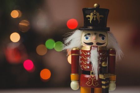 solider: Close-up of nutcracker toy solider christmas decoration on wooden table Stock Photo