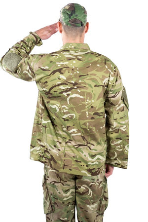 saluting: Rear view of soldier saluting on white background Stock Photo