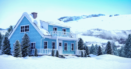 Snow covered house with trees against snowy mountains